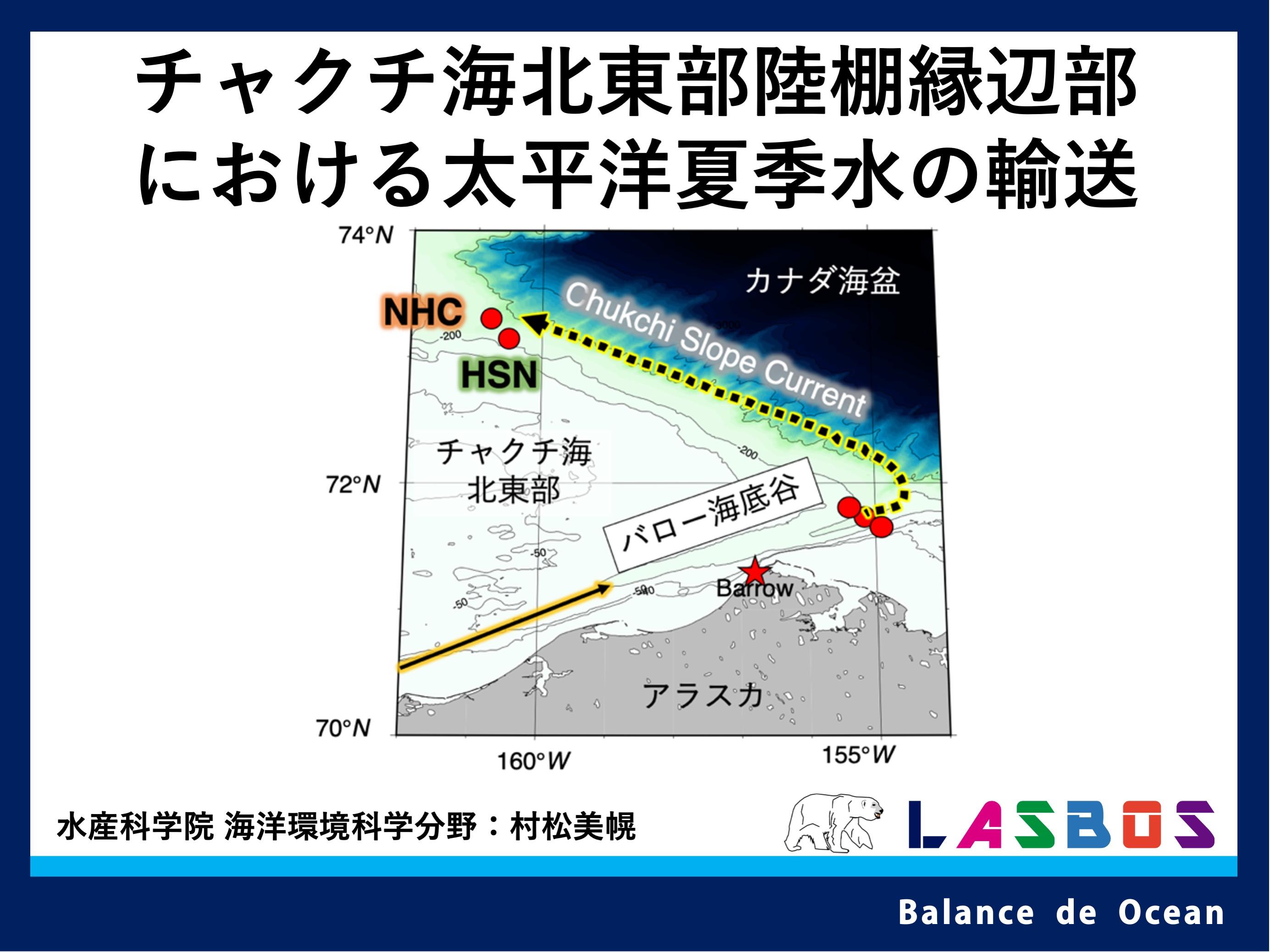 チャクチ海北東部陸棚縁辺部における太平洋夏季水の輸送